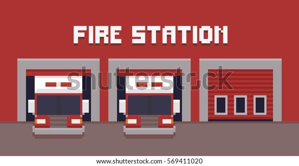 Image Vectorielle De Stock De Pixel Art Fire Station Garage