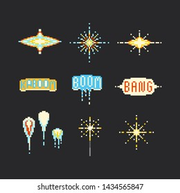 Pixel art firework element set.8bit.