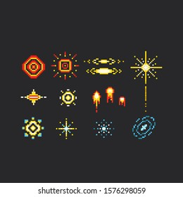 Pixel art firework icon set.