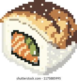 pixel art food 8-bit unagi roll sushi eel japanese kavaii