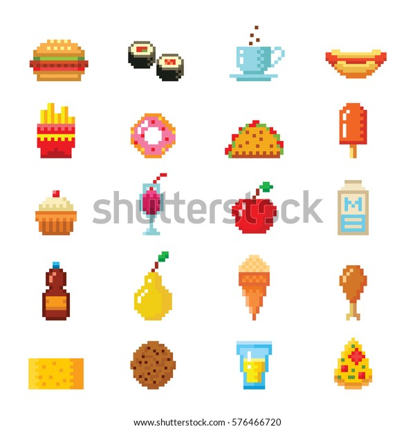Pixel Art Food Computer Design Icons Stock Vector Royalty