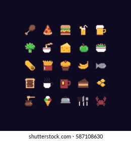 Pixel art food icon set with fast food, fish, fruits and vegetables, beverages