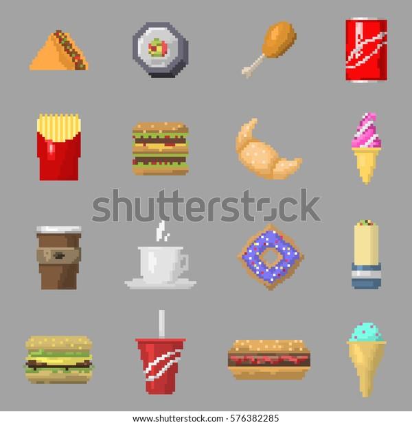 Image Vectorielle De Stock De Pixel Art Icones De Nourriture Image 576382285