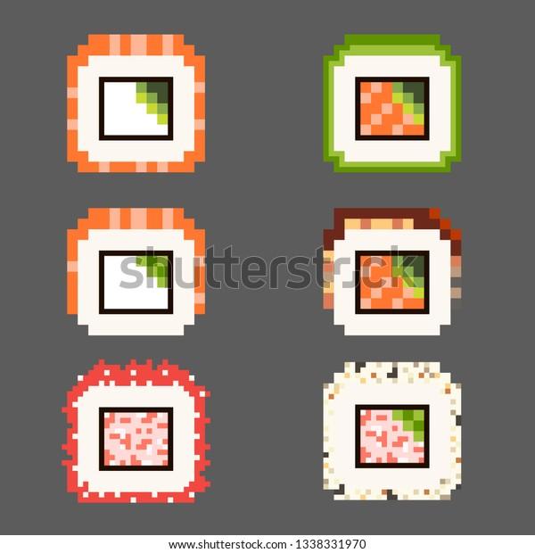 Image Vectorielle De Stock De Pixel Art Food Ikons Japanese Kawaii 1338331970