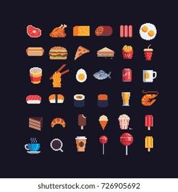 pixel art food spites icons set, vector illustration.