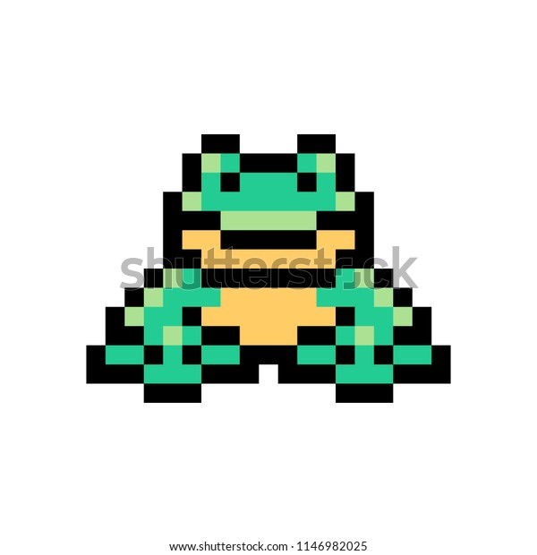 Pixel Art Frog Isolated On White Stock Vector Royalty Free