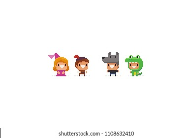 Pixel art funky fantasy game characters in halloween suits. Princess and her savior, wolf, dragon.