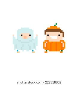 Pixel art funny characters in halloween costumes, ghost and pumpkin