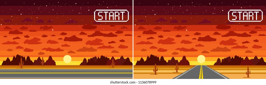 Pixel art game background in desert with road, highway, ground, stars, sky, clouds, silhouette mountain and sun/  Background for racing