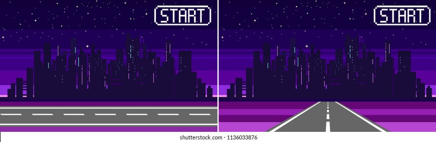Pixel art game background with road, ground, sunset, landscape, sky, clouds, silhouette city, stars and moon. Background with gradient. Background for racing