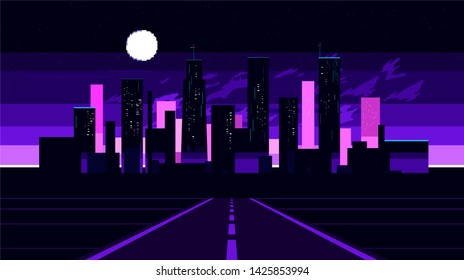 Pixel art game background with road, ground, sunset, landscape, sky, clouds, silhouette city, stars and moon. Background with gradient. Background for racing - Vector