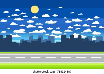 Pixel art game background with road, ground, grass, sky, clouds, silhouette city and sun