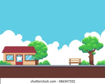 Pixel art game background with shop building, trees, ground, bushes, sky and clouds