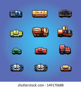 pixel art game cars collection, vector illustration