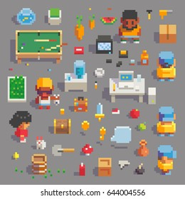 Pixel Art game characters in office with and various items icons set, vector graphic illustration.