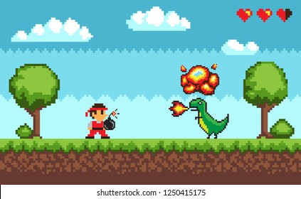 Pixel art game, design in 8 bit style character fighting against dragon with fire vector. Health lives points, man battle with dangerous creature