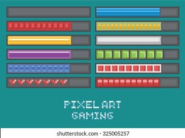 Pixelkunstspiel-Entwicklungsset - Fortschrittsleiste, Laden, Gesundheitspunkte, Mana, Mammo-Flachdesign