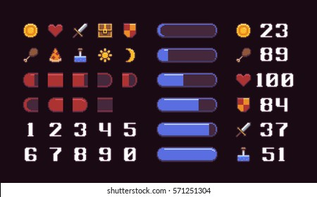 Pixel art game interface elements, icons, loading progress bars and numbers