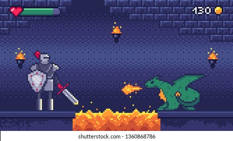 Pixel art game level. Hero warrior fights 8 bit dragon, pixels video games levels scene landscape and retro gaming. 2d pixel knight, arcade or runner game battle vector illustration