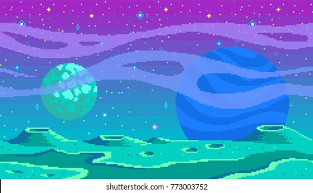 Pixel art game location. Cosmic area,someone planet surface. Seamless vector background