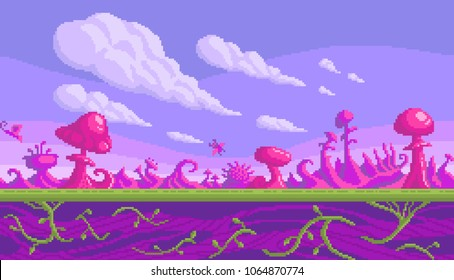 Pixel art game location. Cute pink mushrooms area. Seamless vector background.