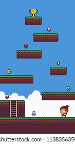 Pixel art game scene with ground, grass, ladder, sky, clouds, male character, , different potion and collectable icons and golden cup on top