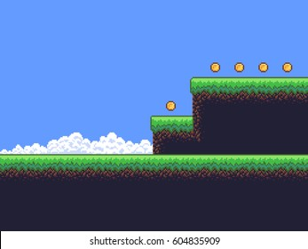 Pixel art game scene with ground, grass, sky, clouds and coins