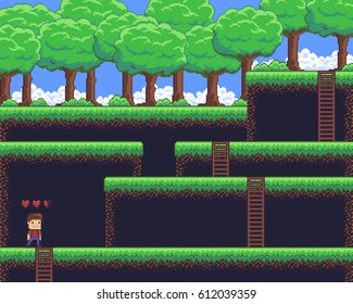 Pixel art game scene with ground, grass, ladders, trees, sky, clouds and male character