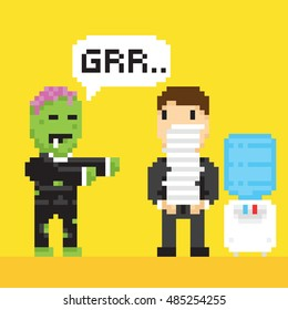 Pixel art game style halloween scary office zombie manager vector illustration
