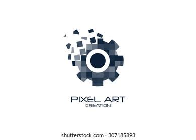 Pixel art gear logo on white background.