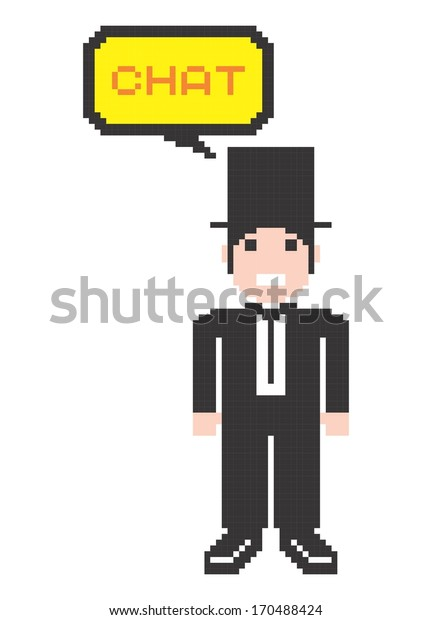 Pixel Art Gentleman Chat Caption Stock Vector Royalty Free