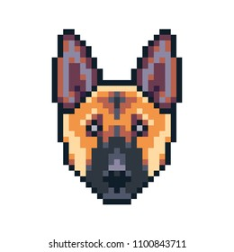 Pixel art german shepherd dog vector icon.