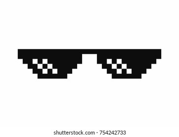 Pixel art glasses.  isolated on white background. Vector