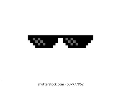 Pixel Art Glasses of Thug Life Meme - Isolated on White Background Vector Illustration