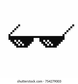 Pixel art glasses. Thug life meme glasses isolated on white background. Vector