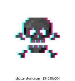 Pixel art glitch skull with crossbones - isolated vector illustration