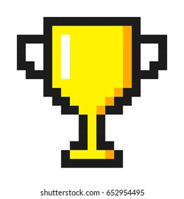 Pixel art golden cup award trophy icon
