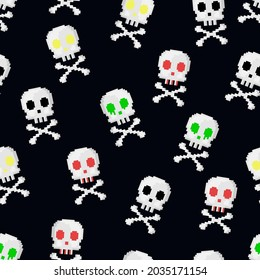 Pixel art halloween seamless pattern. 8 bit gamer retro style repeatable background with skulls and crossbones. Vector pixel art pattern.