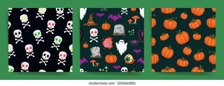 Pixel art halloween seamless pattern set. 8 bit retro style repeatable backgrounds collection with scary stuff like skulls and bones, ghosts, grave, brains and witch hats. Vector pixel art surface set