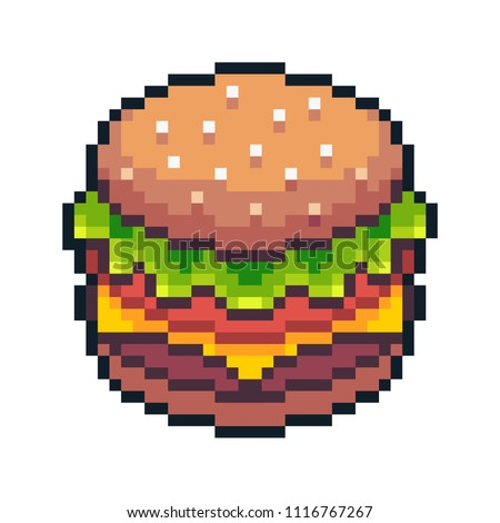Pixel art hamburger isolated on white background.