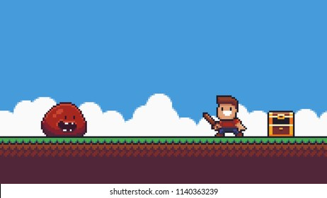 Pixel art happy male character holding wooden sword, slime enemy, open golden chest on summer background with grass, blue sky and clouds