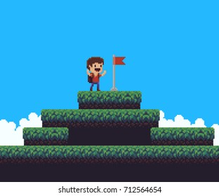 Pixel art happy male character with hands up on top of the mountain with raised flag