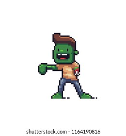Pixel art happy zombie character on white background