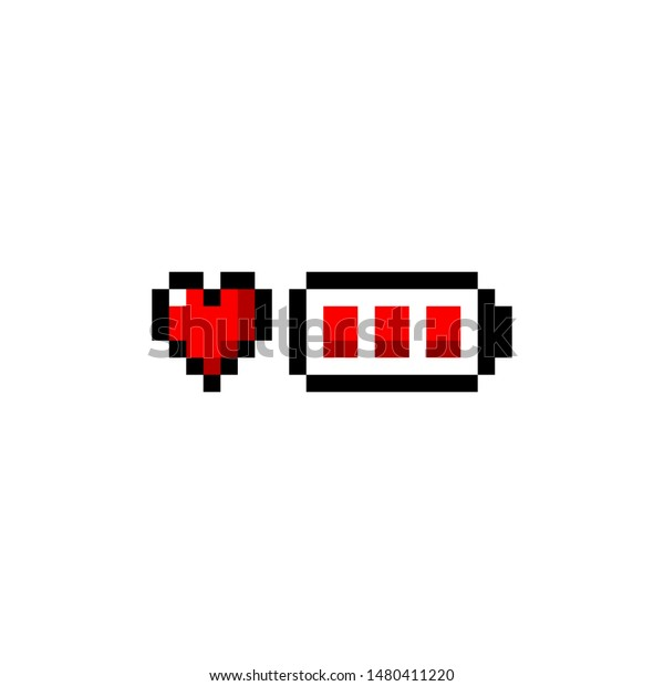 Pixel Art Heart Battery Red Icon Stock Vector Royalty Free
