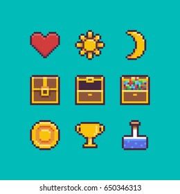 Pixel art heart, chest, coin, golden goblet, sun and moon icons with outlines
