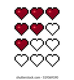 Pixel art heart for game. Colorful stylized vector illustration