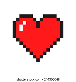 Pixel art heart isolated on white background