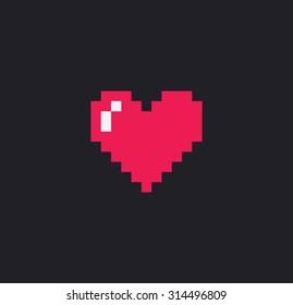 Pixel art heart isolated on dark background
