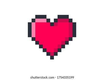 Pixel art heart. love and valentine. Pixel game life bar. Vector art 8 bit health heart bar. Gaming controller, symbol.