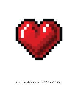 Pixel art heart. Red heart pixel icon. Valentine vector illustration design